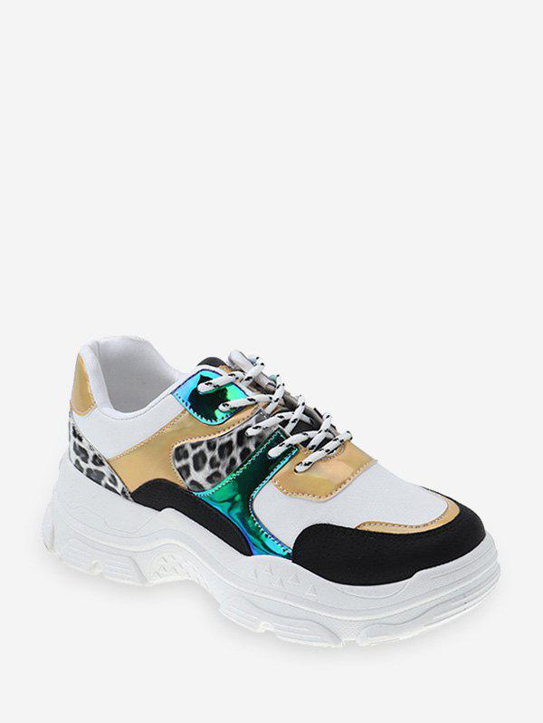 Chic Leopard Mix Material Lace Up Dad Sneakers