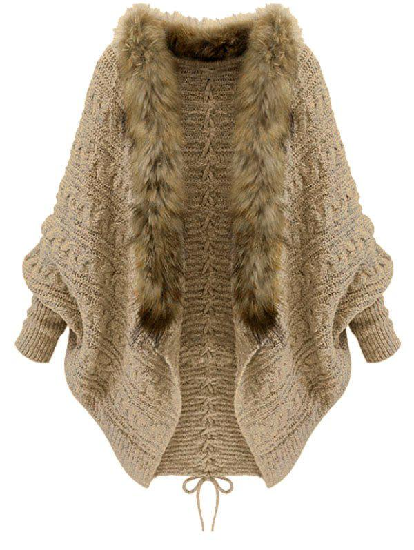 Trendy Faux Fur Batwing Sleeve Open Front Cardigan