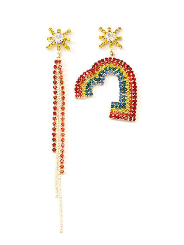 Unique Rainbow Color Rhinestone Heart Tassel Asymmetric Earrings