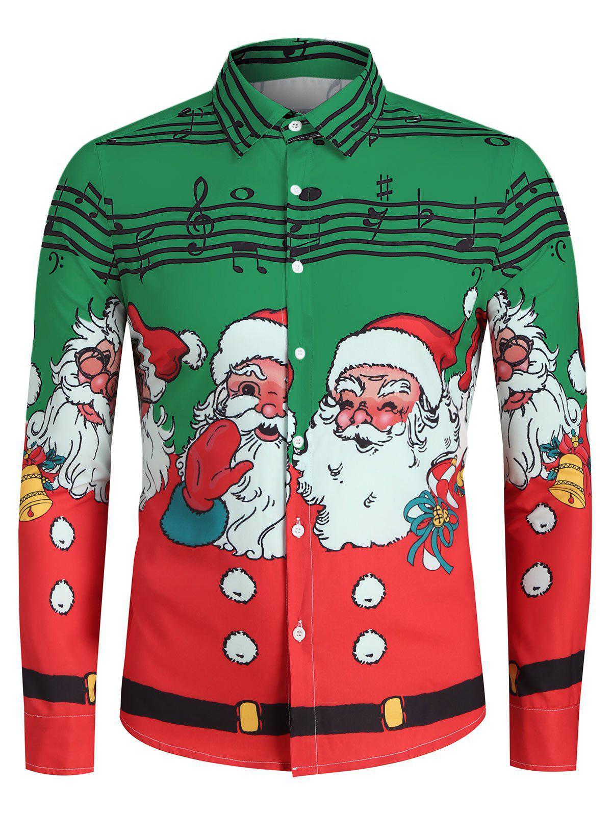 Outfit Christmas Santa Claus and Music Notes Print Button Up Festival Shirt