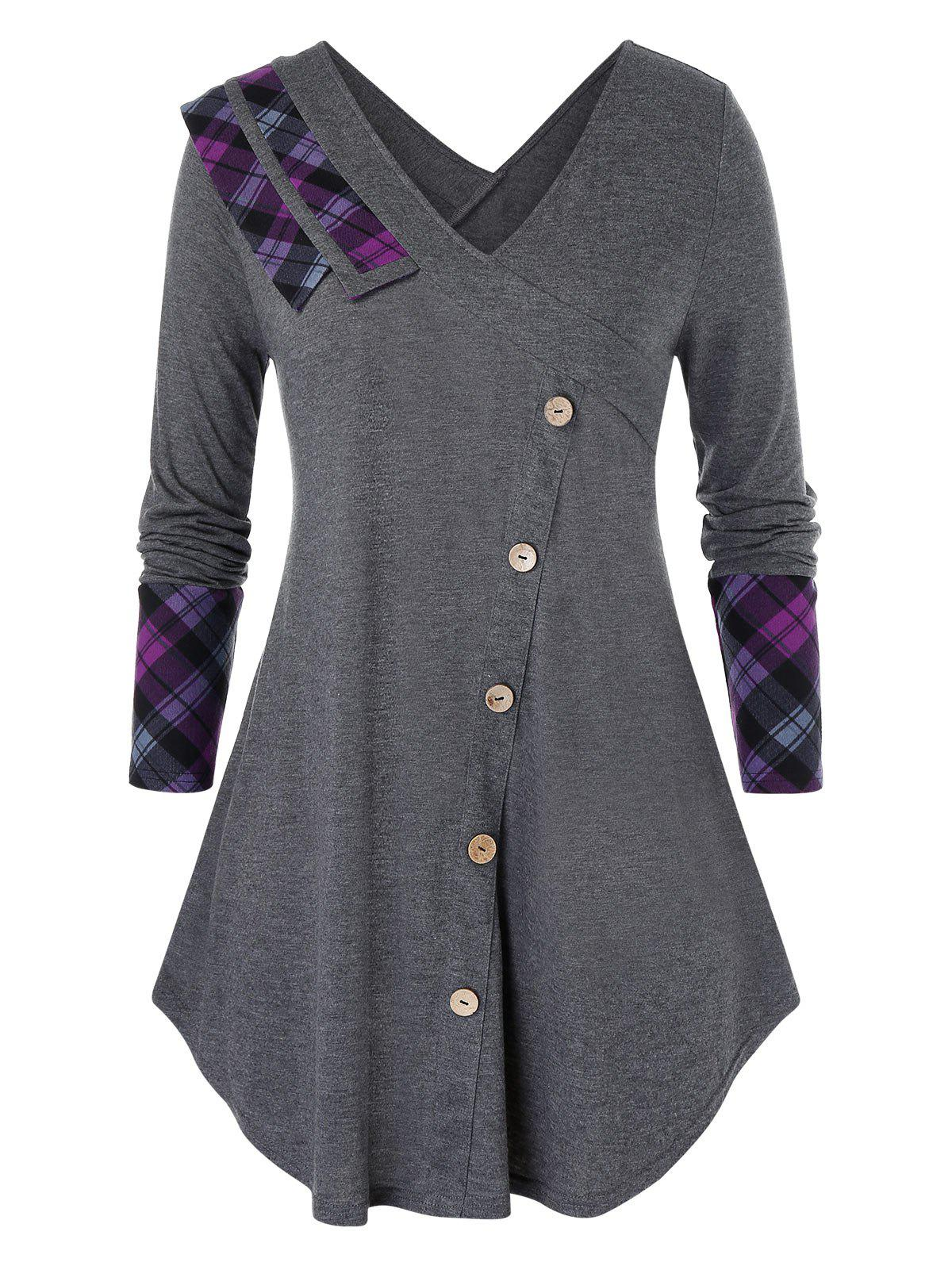 Plus Size Plaid Panel Mock Button Curved Tunic Tee фото