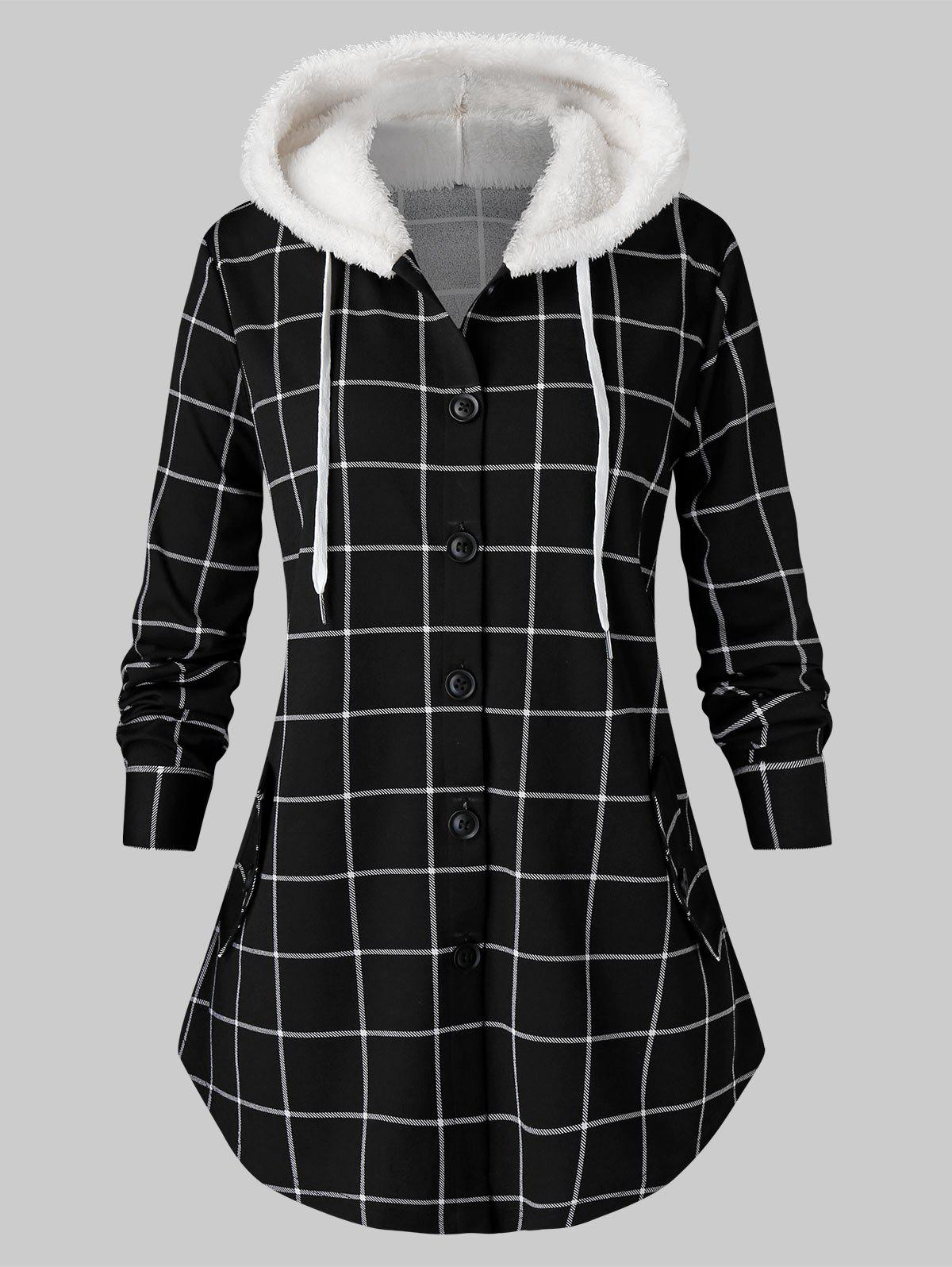 Plus Size Plaid Fluffy manteau à capuchon courbé Tunique