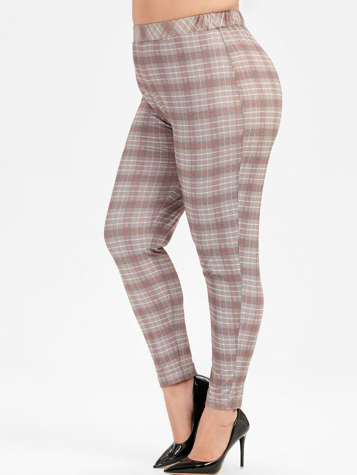 Outfits Plus Size Plaid High Waist Skinny Pants