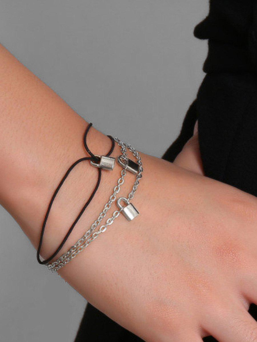 Hot 2Pcs Brief Small Lock Bracelets Set