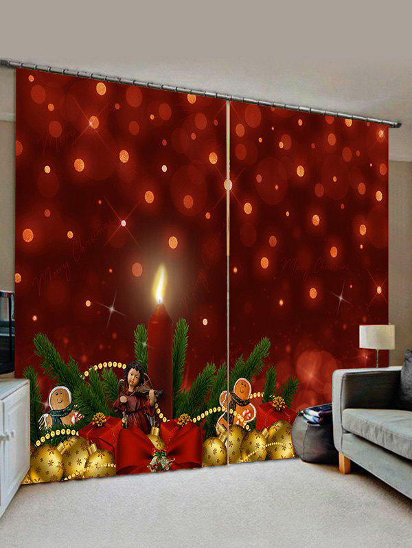 Latest 2 Panels Christmas Pine Branch Balls Print Window Curtains