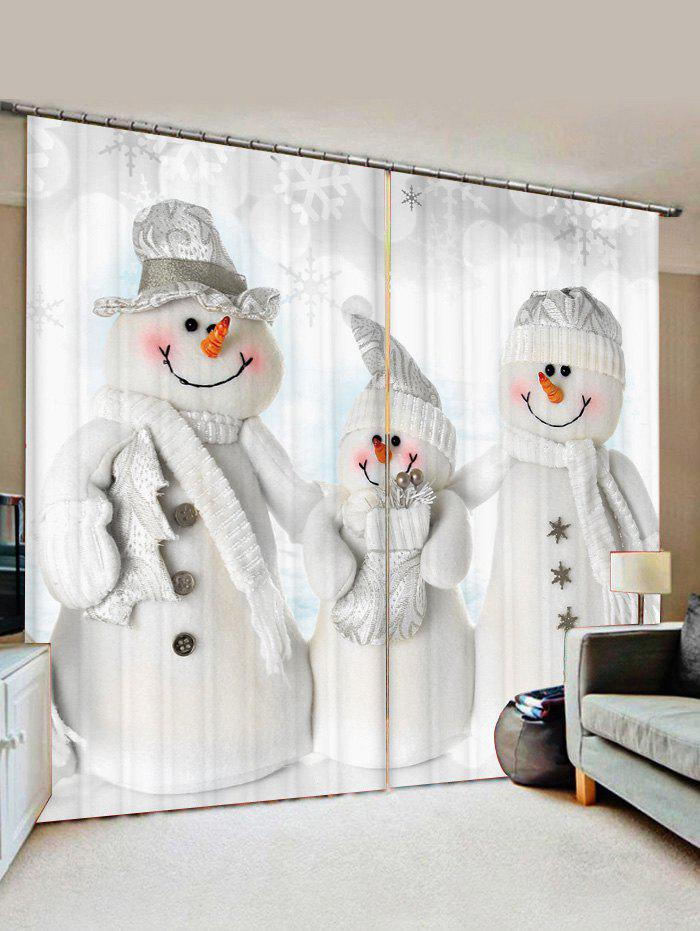Outfit 2 Panels Christmas Snowmen Family Print Window Curtains