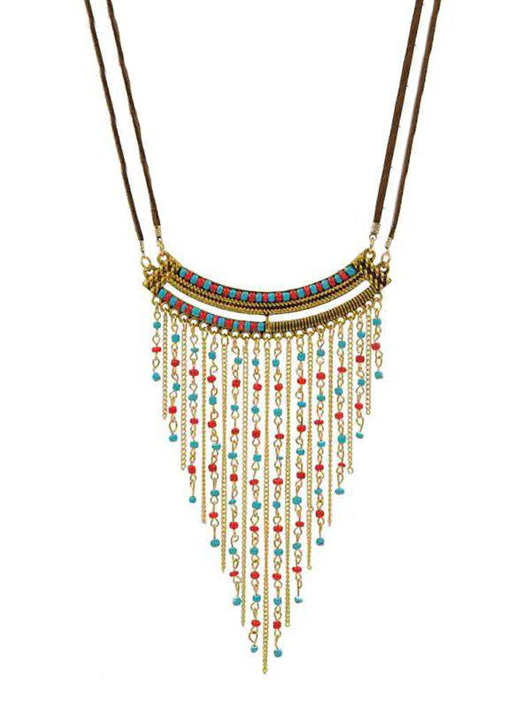 Outfits Bohemian Turquoise Beads Fringe Rope Necklace