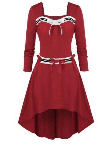 Plus Size Bowknot Embellished High Low Dress