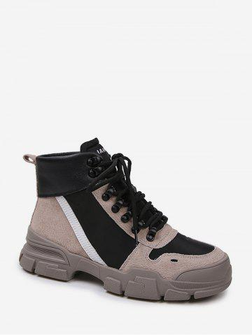 Color-blocking Patch Casual Ankle Boots