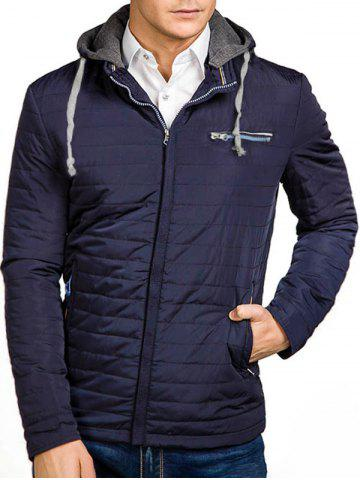 Solid Color Zipper Hooded Quilted Jacket - from $37.99