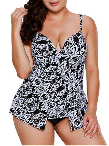 Plus Size Geo Print Twist Push Up Tankini Swimsuit - WHITE - L