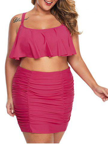 Plus Size Flounce Ruched Skirted Bikini Swimsuit - ROSE RED - M