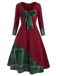 Plus Size Christmas Detachable Bowknot Plaid Dress -