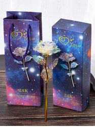 Colorful Plated Artificial Rose Flower In A Box -