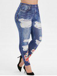 High Waisted 3D Printed Floral Applique Plus Size Jeggings -
