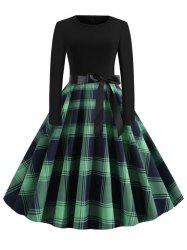 Plus Size Plaid Belted Vintage Dress -