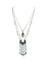 Bohemian Fringed Beads Turquoise Multilayered Necklace -