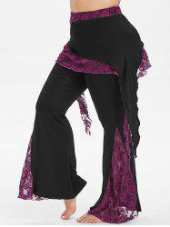 High Waisted Lace Panel Overlay Plus Size Flare Pants -