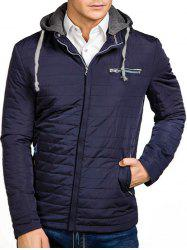 Solid Color Zipper Hooded Quilted Jacket -