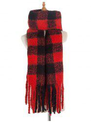 Plaid Pattern Winter Fringe Long Scarf -