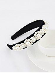 Baroque Faux Pearl Velour Wide Hairband -