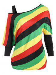 Plus Size Cold Shoulder Tee and Rainbow Striped Top Set -