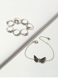 Crown Floral Ring And Butterfly Chain Bracelet Set -