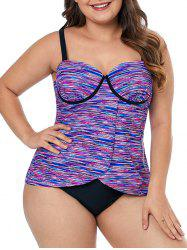 Plus Size Space Dye Front Slit Push Up Tankini Top -