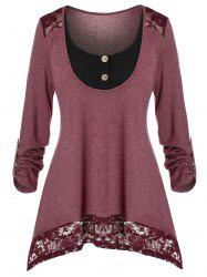 Plus Size Lace Panel Long Sleeve Top -