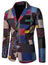 Color-blocking Single Breasted Ethnic Blazer -