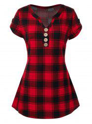 Plus Size Plaid Buttons T-Shirt -