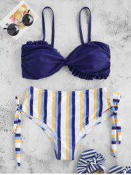 Lettuce Trim Striped High Cut Bikini Swimsuit -