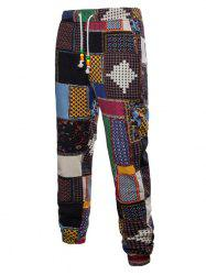 Tribal Ditsy Patchwork Print Casual Jogger Pants -