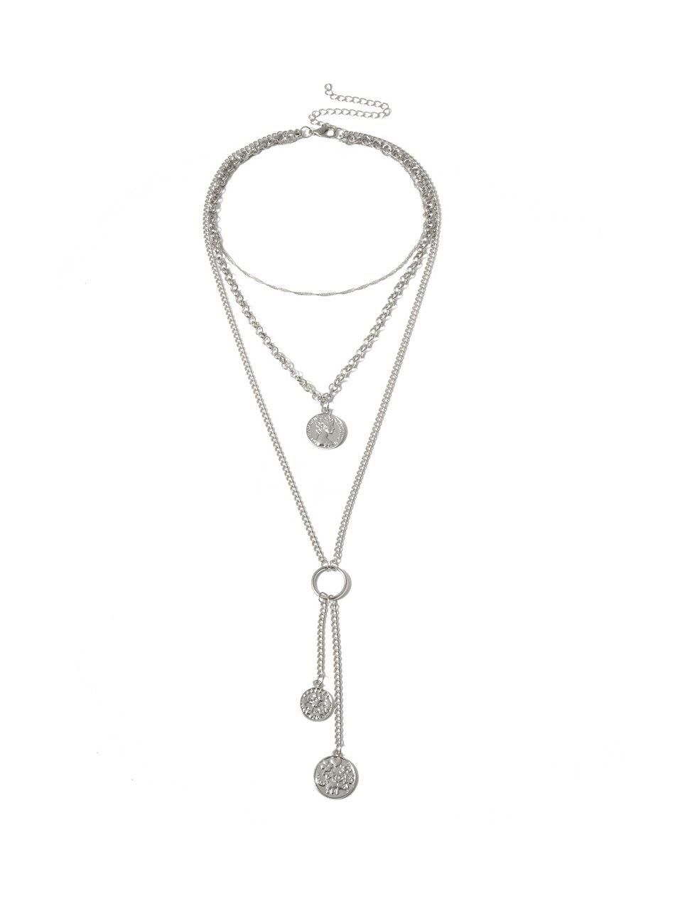 Affordable Pendant Coin Tassel Layers Necklace