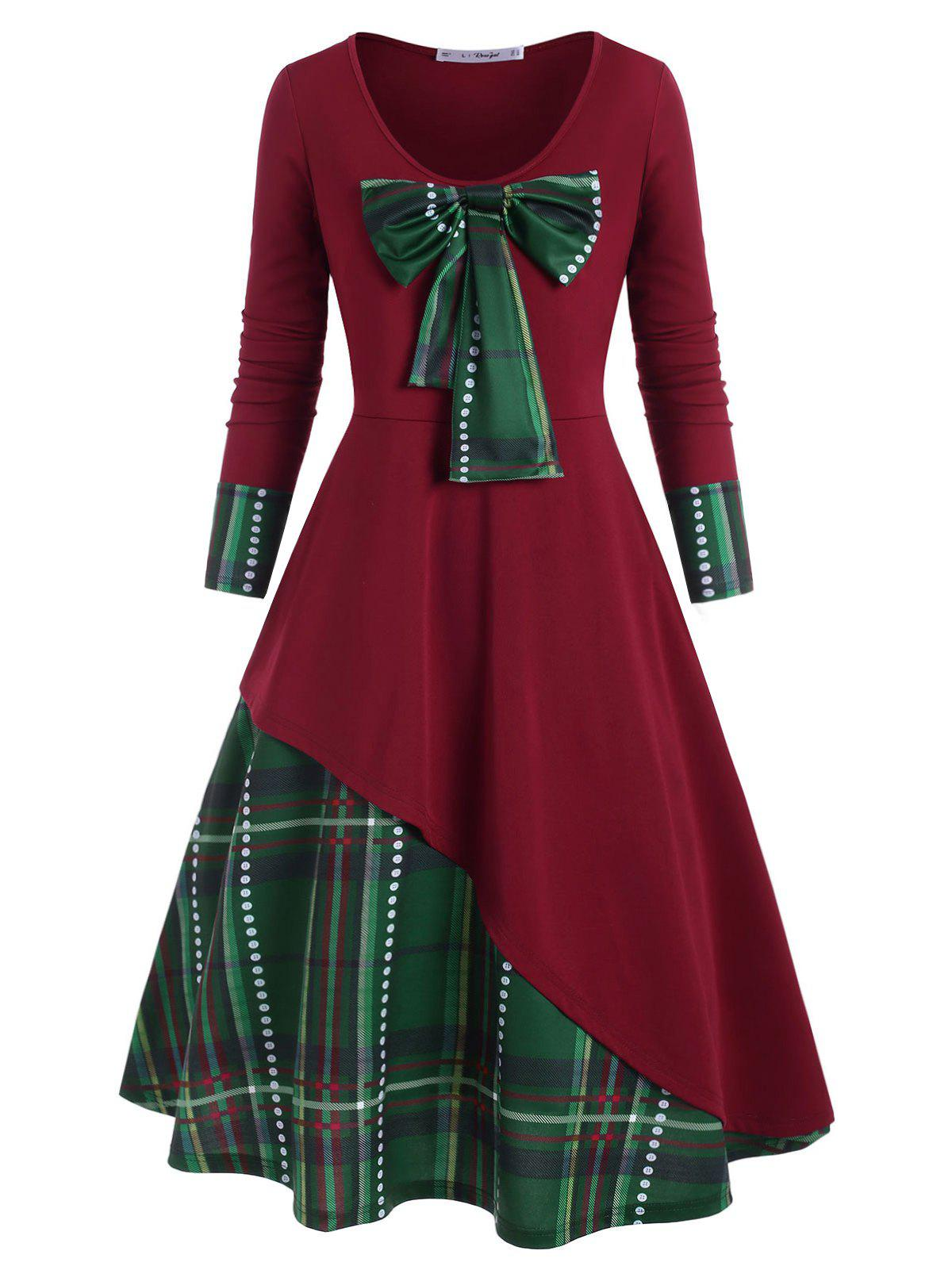Plus Size Christmas Detachable Bowknot Plaid Dress