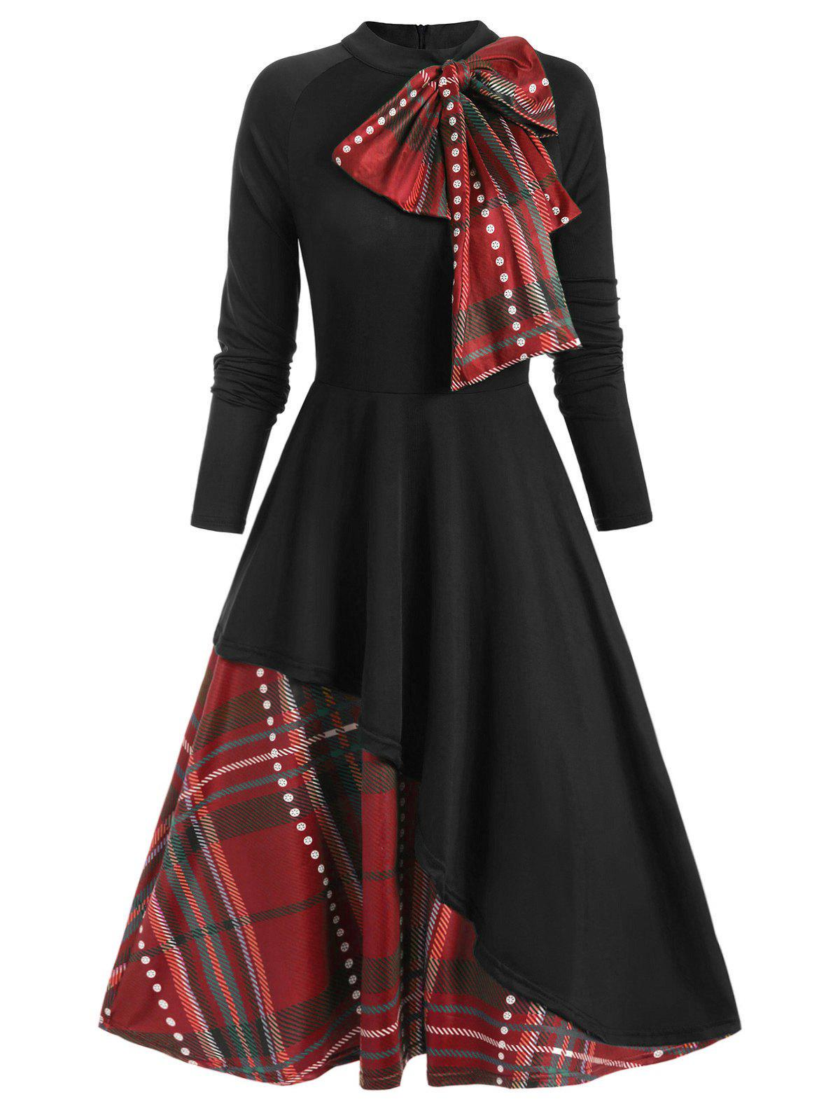 Trendy Plaid Contrast Bowknot Flared Overlay Dress