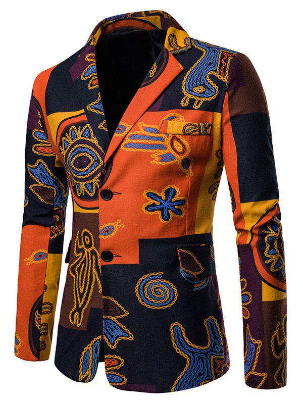 Affordable Ethnic Print Single Breasted Lapel Blazer