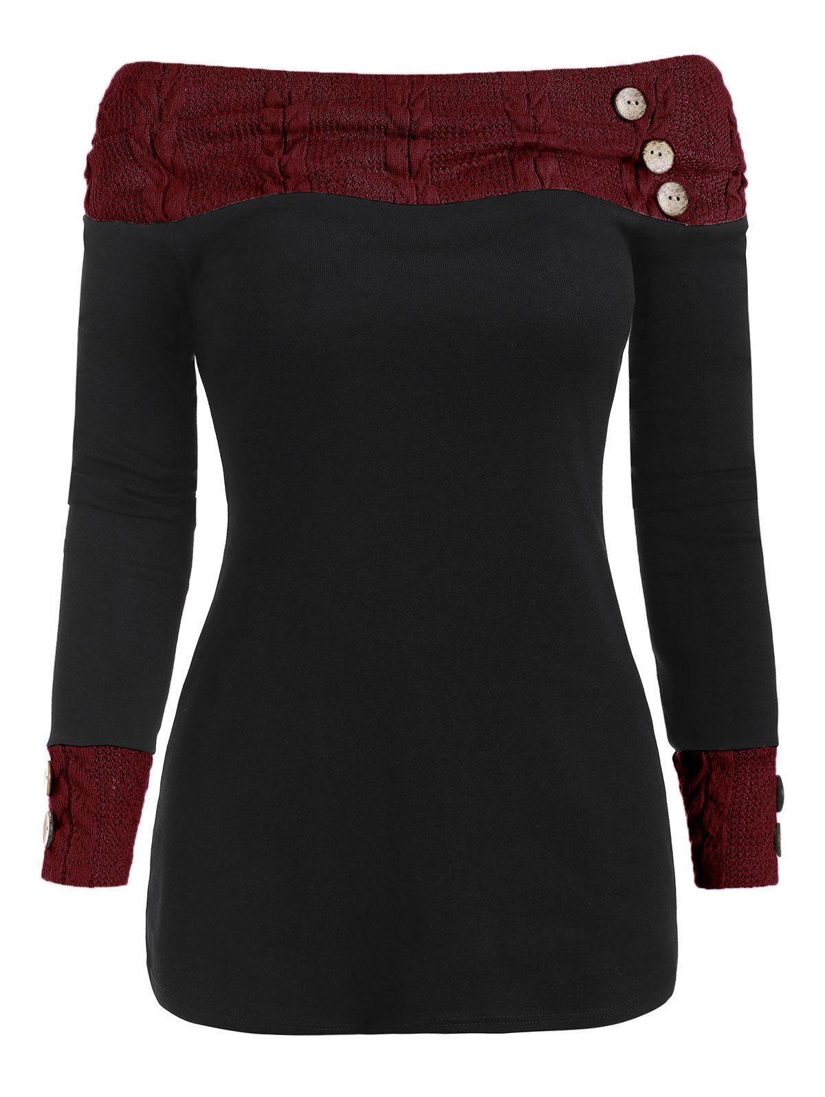 Outfit Knit Panel Buttons Long Sleeves Top