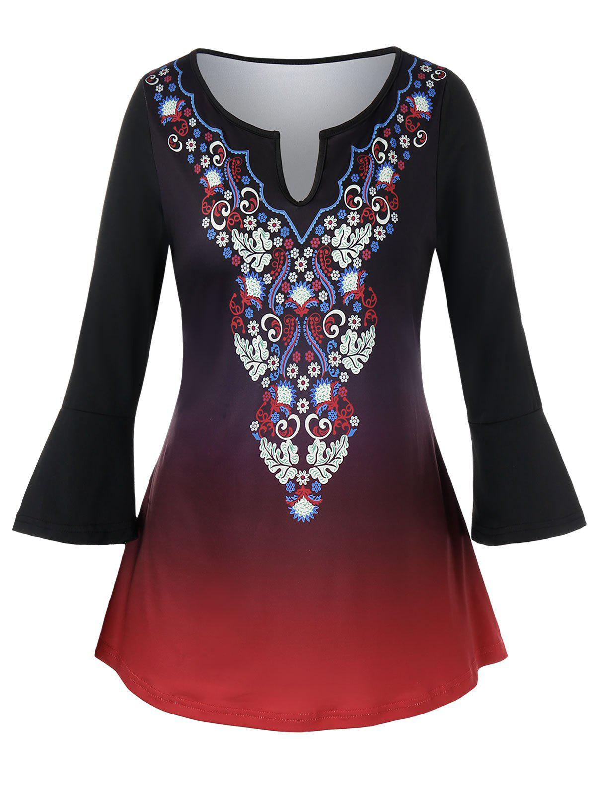 Plus Size Ethnic Floral Print Ombre Top фото