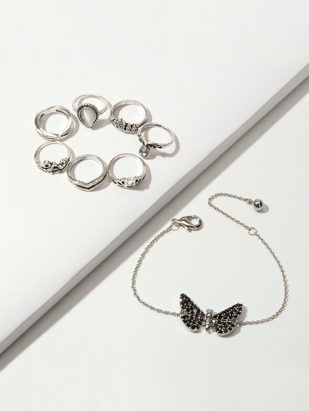 Fashion Crown Floral Ring And Butterfly Chain Bracelet Set