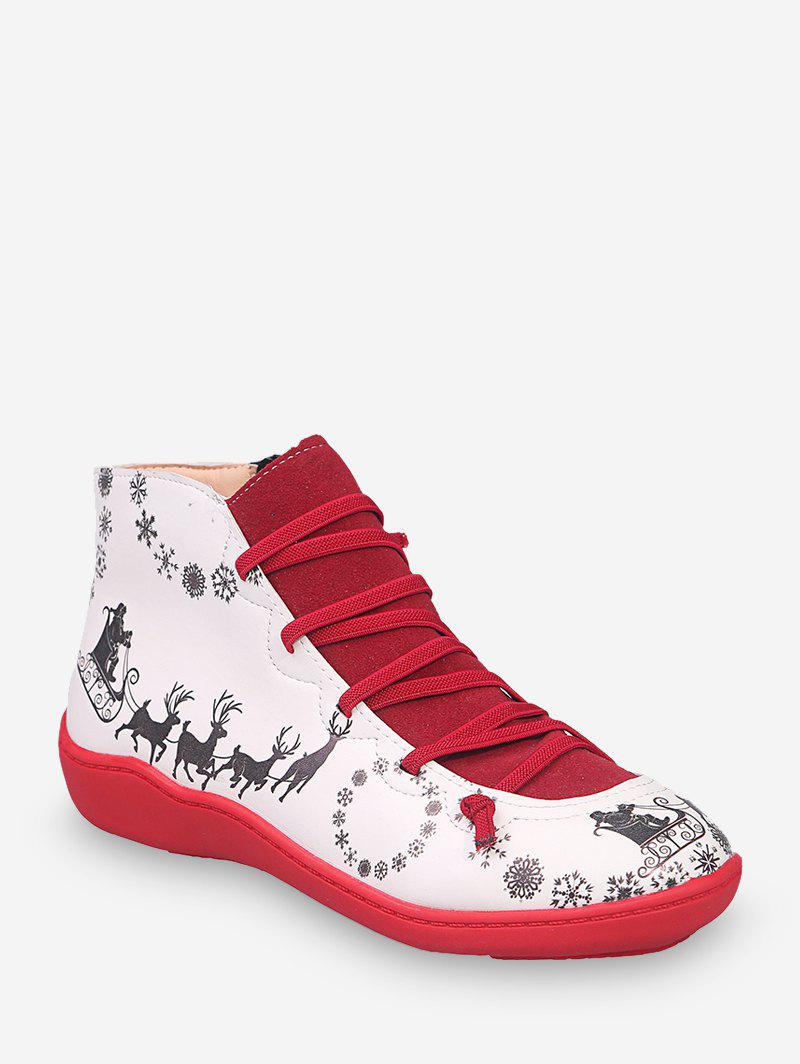 Trendy Christmas Elk Print Casual Ankle Boots