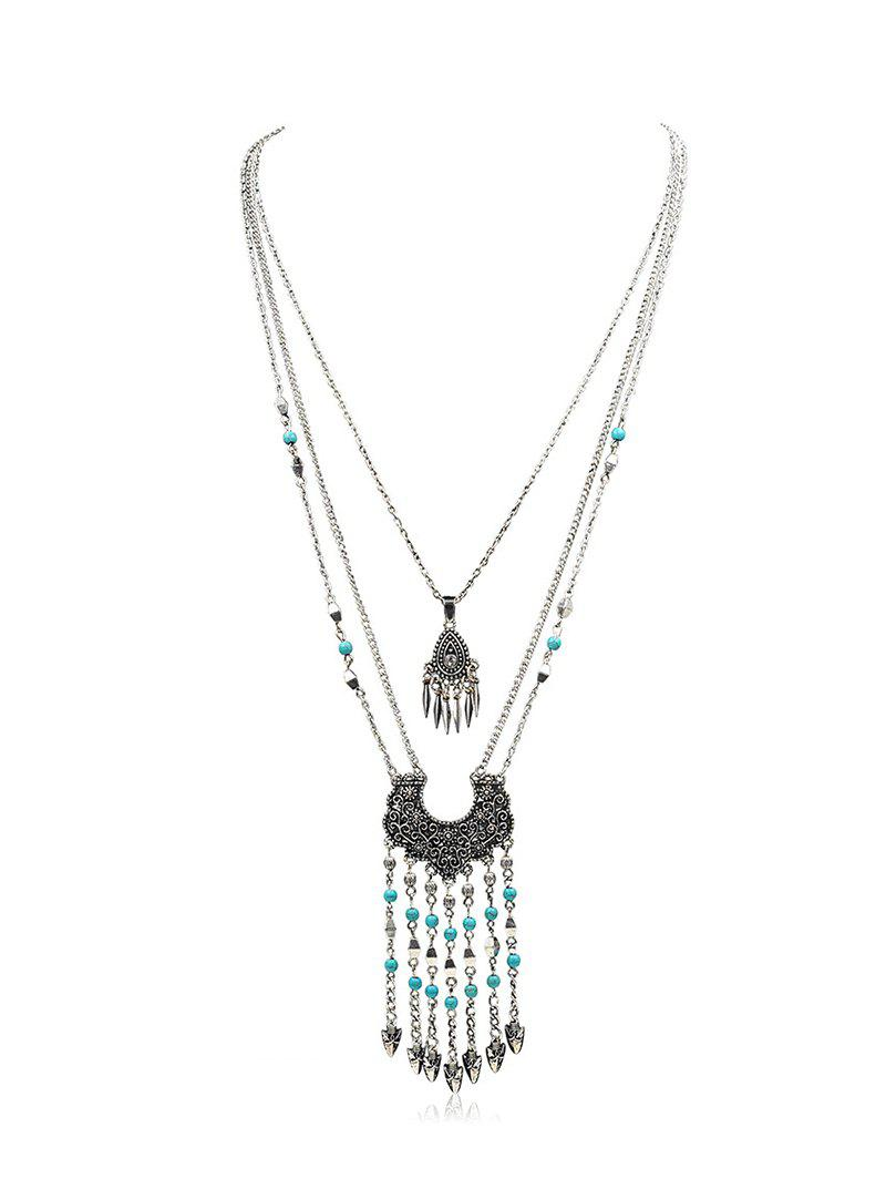 New Bohemian Fringed Beads Turquoise Multilayered Necklace