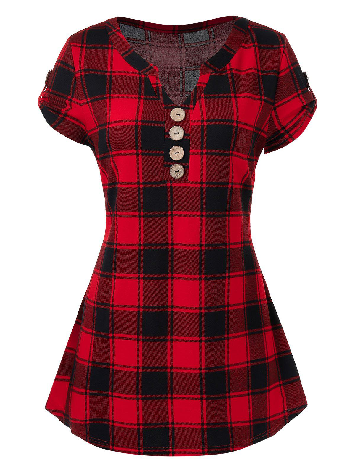 Trendy Plus Size Plaid Buttons T-Shirt