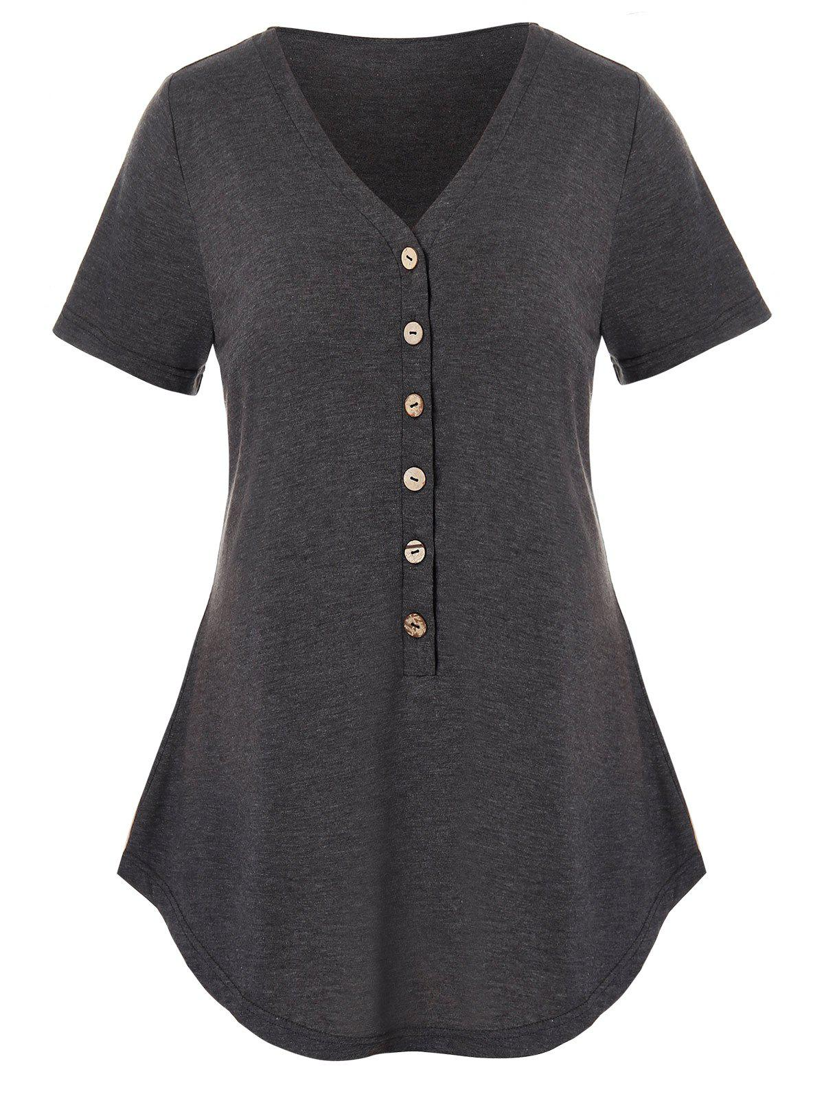 Plus Size Half Button Heathered Curved T Shirt, Carbon gray