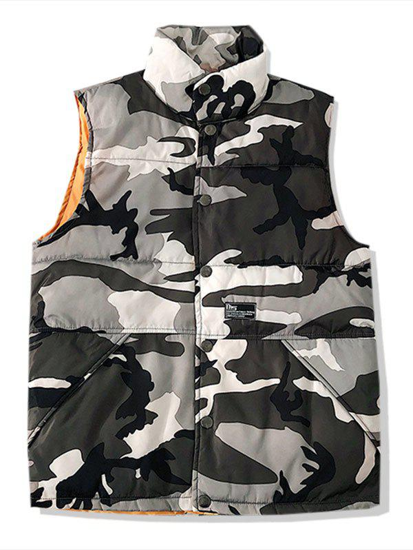 Online Camo Print Button Up Padded Waistcoat