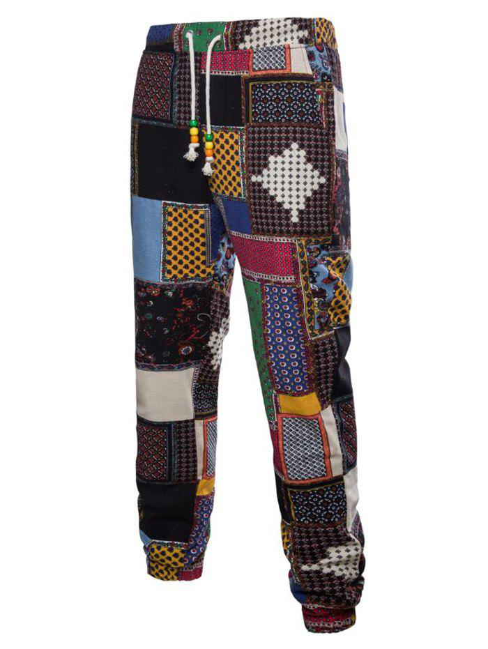 Shops Tribal Ditsy Patchwork Print Casual Jogger Pants