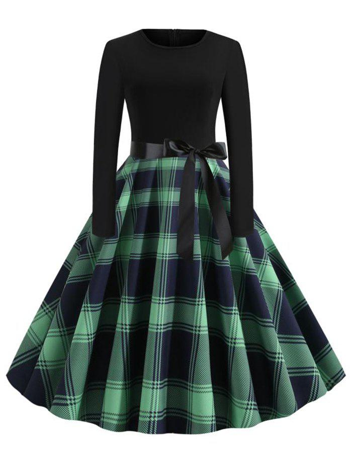 Discount Plus Size Plaid Belted Vintage Dress