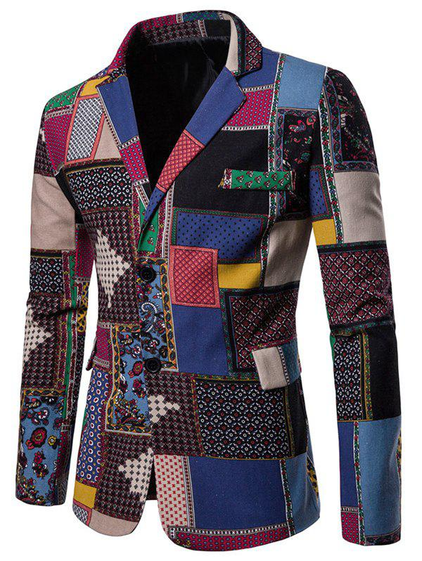 Discount Color-blocking Single Breasted Ethnic Blazer