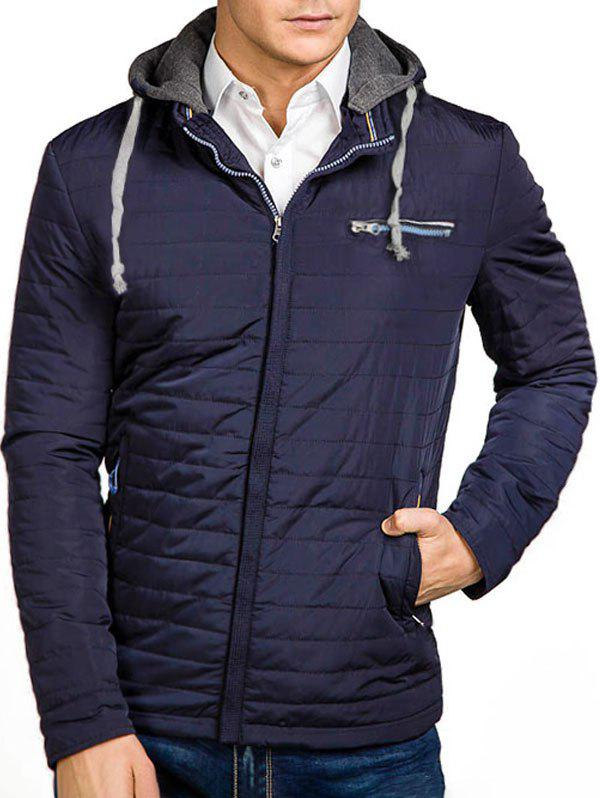 Shop Solid Color Zipper Hooded Quilted Jacket