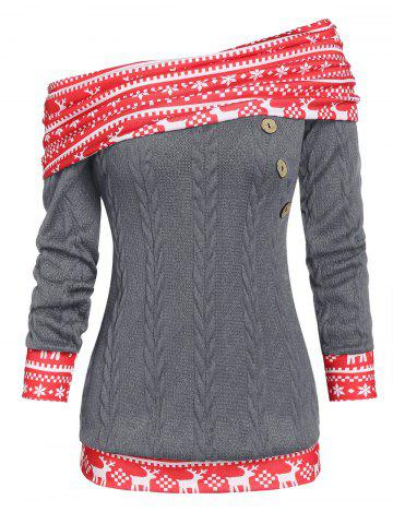 Convertible | Christmas | Sweater | Cable | Print | Neck